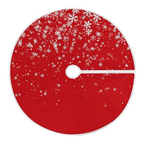 Mnsruu Falda de árbol de Navidad roja 440803 para árbol de Navidad con diseño de copo de nieve para decoraciones navideñas (90 cm)