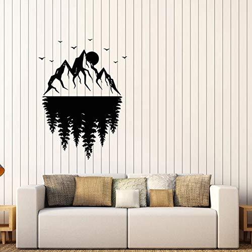 Tianpengyuanshuai muursticker landschap maan bos natuur vinyl venster sticker slaapkamer woonkamer decoratie huis creatieve muur