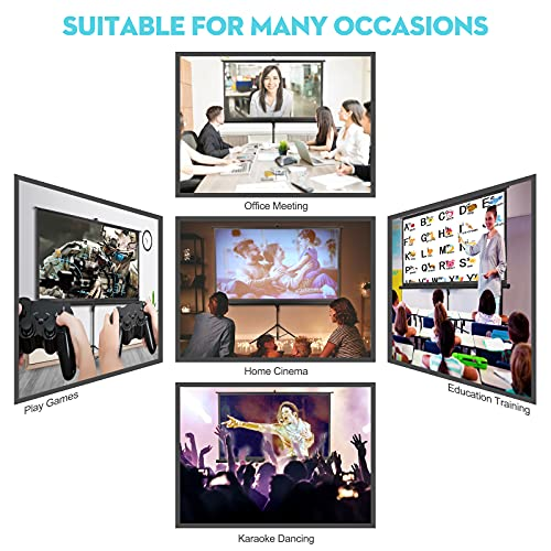 Projector Screen with Stand - Kapwan 100 inch 16:9 HD 4K Wrinkle-Free Portable Projector Screen Pull Down for Movie or Meeting, Indoor and Outdoor Tripod Screen for Projector with Carry Bag