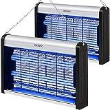 Monzana 2X Lámparas Mata Mosquitos eléctricas 12W LED UV 50m² Potente Mosquitero eléctrico Anti Mosquito Mata Insectos