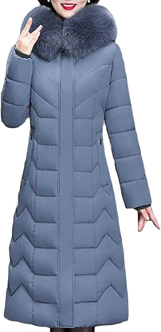 Mekoe Womens Winter Quilted Faux Fur Hooded Down Jacket Parka Outerwear