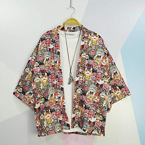 Camicia Tradizionale Giapponese Kimono Cardigan Uomini Donne Protezione Solare Sottile Allentato Stampa Estate Kimono Yukata Asiatici Abbigliamento Qf Shop (Color : Little Devil, Size : XXL)