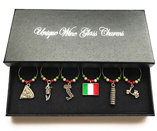 Libby's Market Place Italy Wine Glass Charms with Gift Box