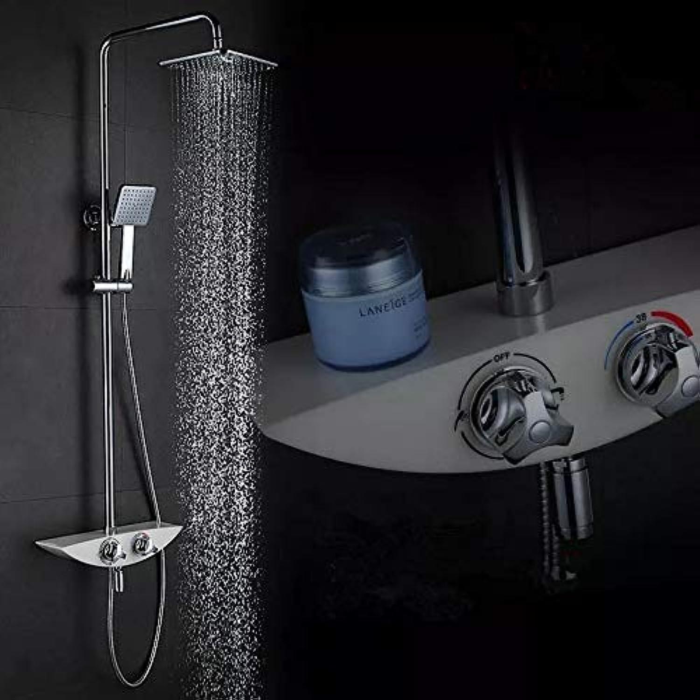 Thermostat-Duschset mit weier Wannenbatterie Wannen-Duschwandhahn Wannenbatterie-Set Thermostat-Duschbatterie, Multi