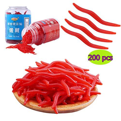 JEANGO Roter Wurm weicher Köder, 200 Stück Karpfen Gras Karpfen Köder biomimetisches weiches Silikon lockt Wurm-Fischen lockt starker Versuchungs-Köder