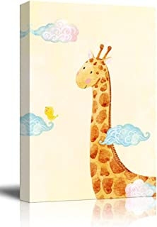 wall26 - Canvas Wall Art - Hand Drawn Giraffe and Bird Above The Clouds - Giclee Print Kid's Room/Nursery Decor Ready to Hang - 12x18 inches