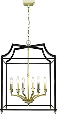 Golden Lighting 8401-6P SB-BLK Six Light Pendant, Black