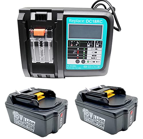 FengWings 2 baterías BL1840B de 18 V y 4,0 Ah y cargador de 3 A para Makita BL1840 BL1830 BL1850 LXT400 DC18RA DC18RC.