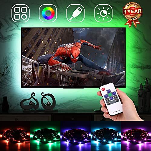 Retroilluminazione TV LED, Illuminazione a strisce LED Bias, Retroilluminazione a cambiamento di colore RGB con telecomando RF, Dimmerabile, 18 colori, 20 modalità