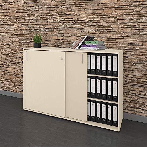 Weber Büro Schiebetürenschrank Sideboard NOVA 3OH 1.640 x 1.085 mm in Ahorn