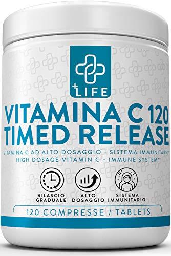 Vitamina C 1000mg Lento Rilascio PiuLife ● 120® Compresse Vitamina C Pura Timed Release ● Rafforza Sistema Immunitario, Antiossidante ad Alto Dosaggio ● Integratore Vitamina C Naturale