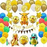 Herefun Globo Pokémon, 91 Piezas Pokemon Pikachu Globos de Fiesta Helium Foil Balloons, S...