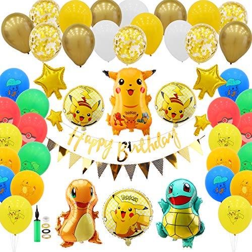 Herefun Globo Pokémon, 91 Piezas Pokemon Pikachu Globos de Fiesta Helium Foil Balloons, Suministros de Fiesta Cumpleaños de Pokemon