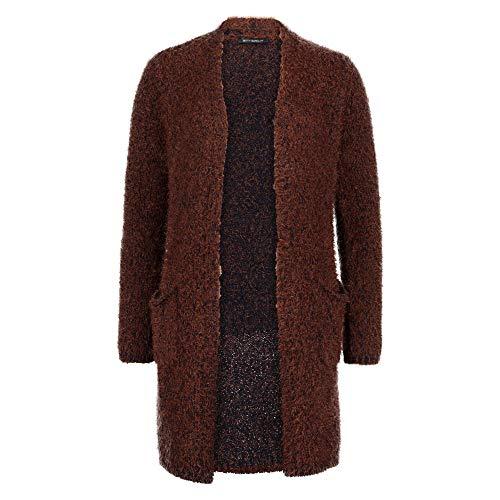 Betty Barclay 6622 0418 8876 Damen Strickjacke offene Form aufgesetzte Taschen, Groesse 44, braun/dunkelblau/meliert