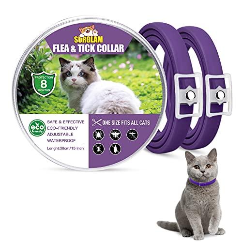 Collare Antipulci e Zecche per Gatti, Collare Antipulci per Gatti Impermeabile Misura Regolabile e Naturale con Protezione di 8 Mesi, pulci e zecche Trattamento Efficace per Gattini (Viola-2 Packs)