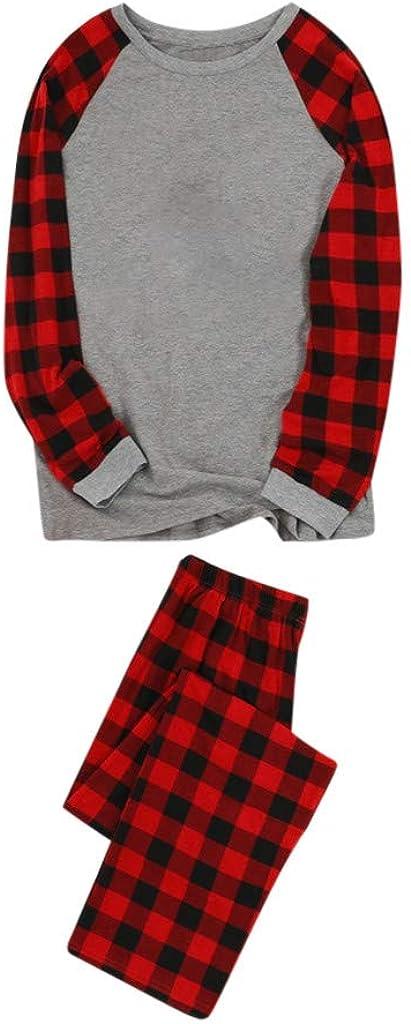 YunZyun Plaid Family Matching Christmas Pajamas Set Striped Sleepwear Outfit for Toddler Kids Children Women Men