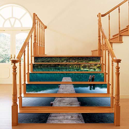 Manyo - Lote de 6 pegatinas para azulejos de escalera, diseño de puente colgante de pared, contremarca, escalera, PVC, 18 x 100 cm