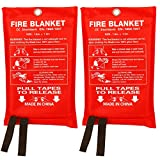 Fire Blanket Fiberglass Fire Emergency Blanket Suppression Blanket Flame Retardant Blanket Emergency Survival Safety Cover for Kitchen Home House Car Office Warehouse, 2 Pack (39.3X 39.3 inch)