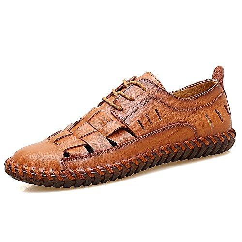 Lpinvin - Sandalias para hombre de piel, para verano, para exteriores, con dedos cerrados, transpirables, para la playa, antideslizantes, color rojo, marrón, talla: 47