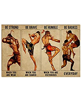 Vintage Man Muay Thai - Be Strong Be Brave When You are Scared Poster Art Print Size 11x17 12x18 16x24 24x36 Home Decor Gift for Men Women Family Friend on Birthday Xmas NN3225
