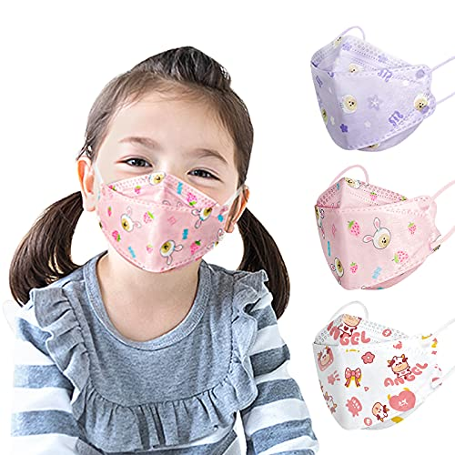 Kids Disposable Face Mask-30Pack,Breathable Cute Safety Masks for Children,Individually Wrapped Face Masks for Girls