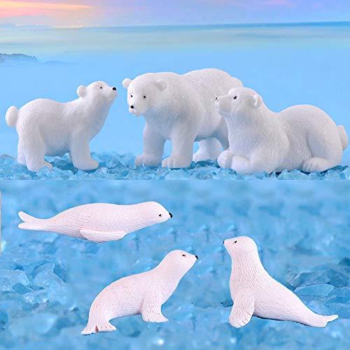 Yokoke Set of 12 Sea Ocean Animal Figurines White Christmas Miniatures Polar Bears Seals for Fairy Garden Snowball Ice Sea Theme Dollhouse Arctic Circle