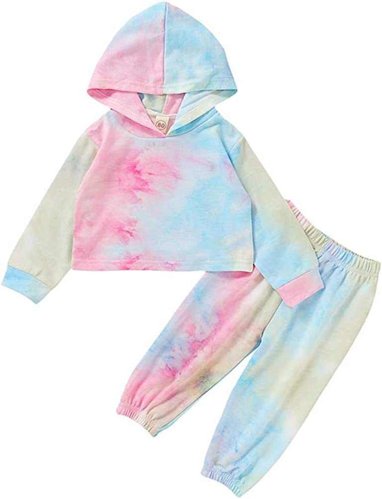 Dye Crop Hoodie /& Pants Set Sweatsuit Multicolor 2 Piece Outfit Aoliandatong Girls Tie