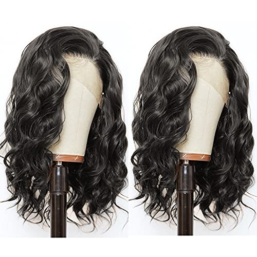 ANDRIA Short Bob Lace Front Wigs Glueless Natural Wave Synthetic Heat Resistant Fiber Hair Wig With Baby Hair For Black Women 14 Inches Black Wavy Shoulder Length Wigs