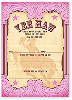 POP parties Cowgirl Party Large Invitations - 20 Invitations + 20 Envelopes