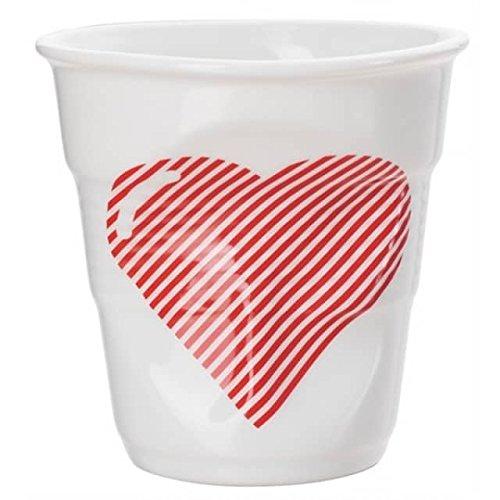 Revol RV648564 Tasse Espresso Froissé, Porcelaine, Blanc/Rouge, 6,5 x 6,5 x 6 cm