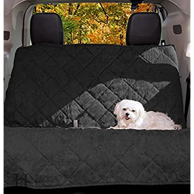 Back Seat Protector and Pet Seat Cover with Adjustable Straps. Durable Seat Mat Fits Most Cars, SUVs, Trucks, and Vans. By Home Fashion Designs Brand. (Black)