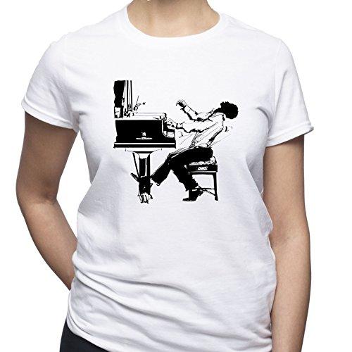 Pianist Shirt Piano Player Tshirt Jazz Improvisation T Shirt Musician Gift Damen T-Shirt Weiß L