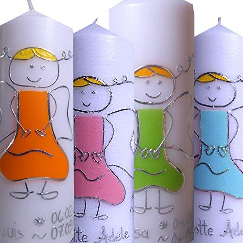 Taufkerze Mädchen Junge SCHUTZENGEL 200x70 Mit Namen Geburts Taufdatum Alle Farben möglich ITP015