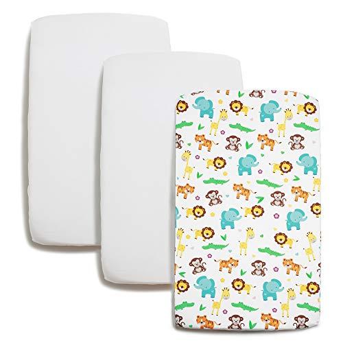 Niimo Set med 2 nyfödda lakan 70x140 100% mjuk bomull + 1 vattentät madrassöverdrag Spjälsängar med barer enkelsäng säng 70 x 140 cm (djungel)