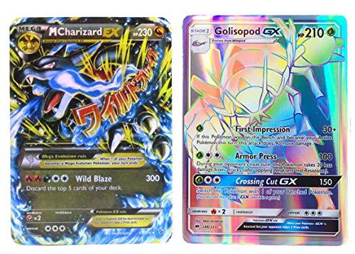 New Mega Cards Charizard Mega EX 69/106 with Golisopod GX 148/147 Flash Light Card Standard Size 2.5' x 3.5' English with Box and Sleeve Free 1 EX Card