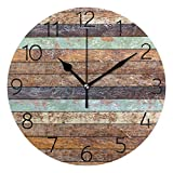 MOYYO Vintage Retro Wooden Texture Wall Clock 9.8 Inch Silent Round Wall Clock Battery Operated Non Ticking Creative Decorative Clock for Kids Living Room Bedroom Office Kitchen Home Decor