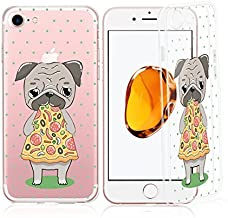 iPhone 6 / 6S Compatible, Colorful Rubber Flexible Silicone Case Bumper Clear Cover - Dog Puppy Lover Cute Pup Eating Pizza