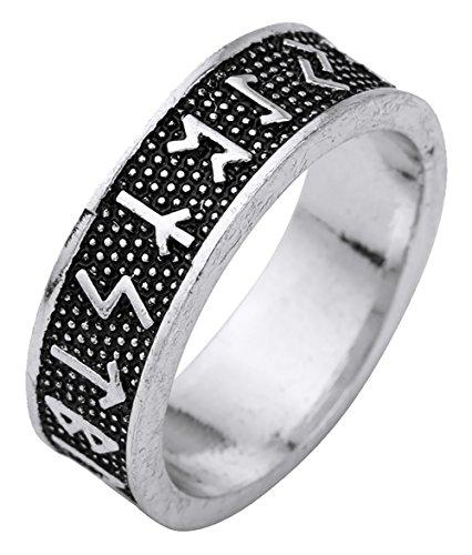 lemegeton gótico Viking 24Nórdico runas negro amuleto nórdico Anillo para hombres mujeres tamaño 7,5