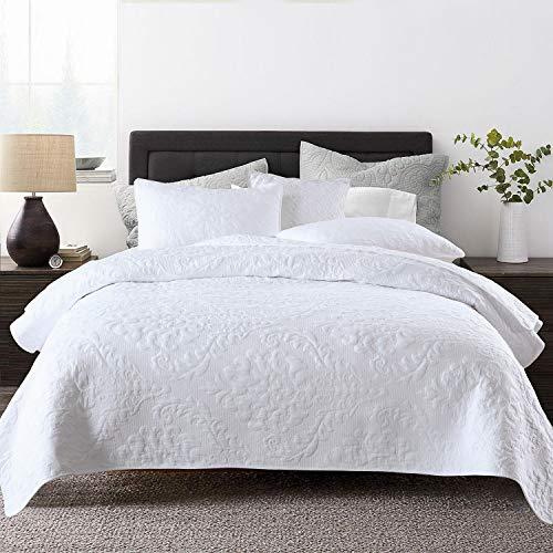 Topmail Tagesdecke Weiß 100% Baumwolle Bettüberwurf Patchwork inkl. 1 Steppdecke 230 x 250 cm +2 Kissenbezug 50 x 70cm Atmungsaktive Gesteppte Decke (Weiß 230 x 250cm)