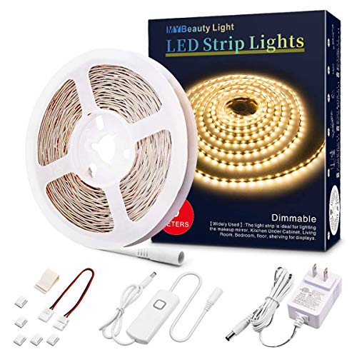 Led Strip Lights 16.4 Feet Dimmable Warm White Led Light Strip Flexible Led Tape Light 12v Under Cabinet Lighting Kits with ETL Power Supply, Adhesive Clips, Dimmer Switch and Connectors