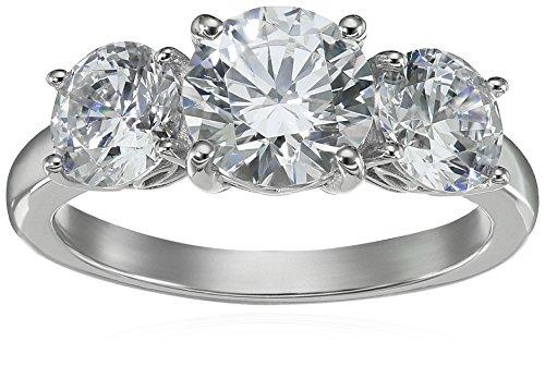 Anillo de plata de ley bañado en platino o oro redondo de 3 piedras fabricado con circonia de Swarovski,plateado (Platinum Plated Silver),Size 8