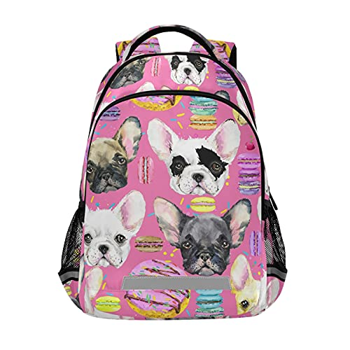 MNSRUU Backpack for Boys and Girls Cute Dog French Bulldog Puppy School Backpack with Chest Strap Lightweight Nursery Travel Bag