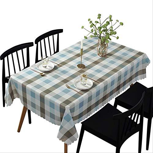 Mantel de PVC de celosía de Color café Azul Impermeable Anti-escaldado a Prueba de Aceite desechable decoración del Comedor del hogar 135 * 200 cm