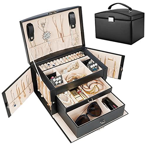 ProCase Boîte à Bijoux Cuir Gainé, Coffret à Bijoux 3 Compartiments, Sans Perdre ou Abîmer Cadeau Idéale-Noir