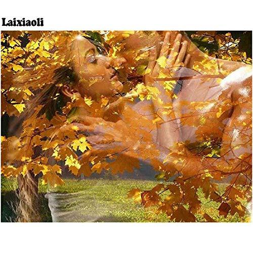 Mssdezb DIY 5D Volledige Diamant Schilderij Fantasie Uitzicht Romantische Liefde Kus Foto Borduren Mozaïek Woonkamer Decor 40X50Cm(16X20Inch)