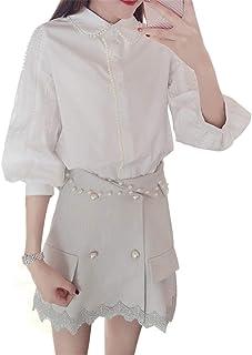 DRASAWEE(JP)セットアップ レデイース 春服 7分袖 ホワイト シフォンシャツ ショートスカート 上下セット 2点セット セパレート 清楚 甘美 OL風 通勤 通学 デート パーティー