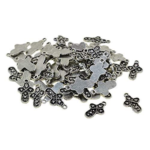 Generic 100x Tibet Silver Cross W/Heart Charms Colgantes para Pulseras Pendientes DIY