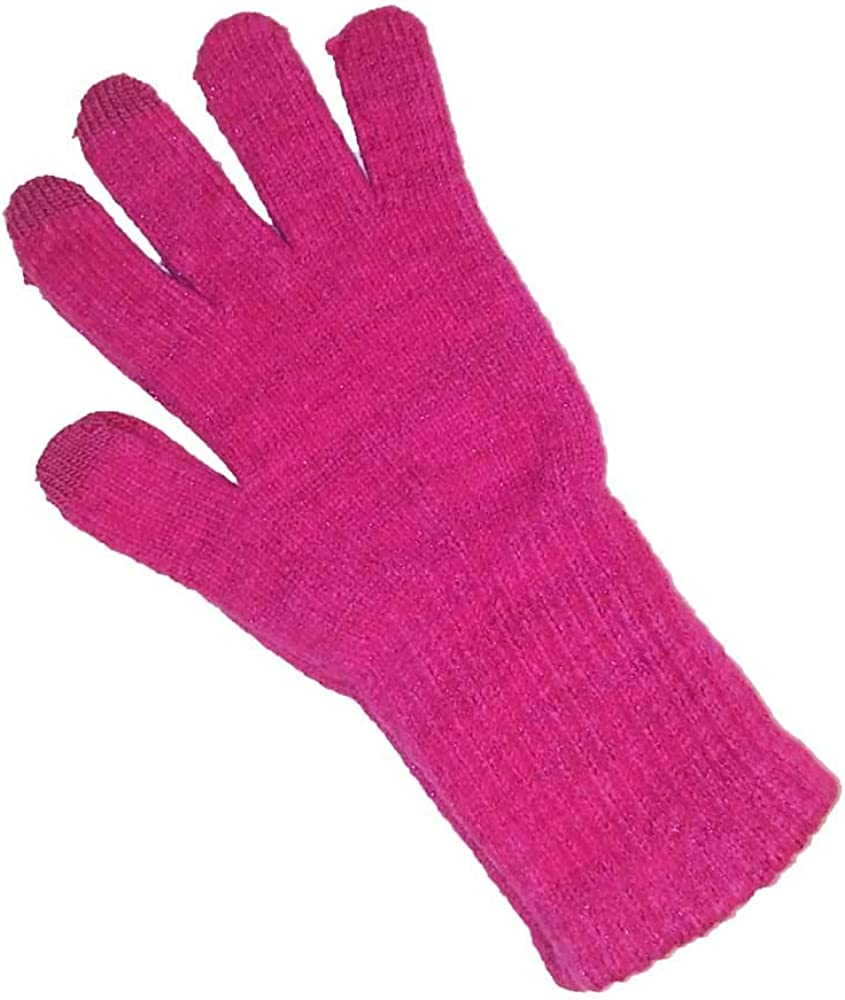 ClimateSmart Girls Soft Texting Sparkle Gloves One Size 7-14 Pink