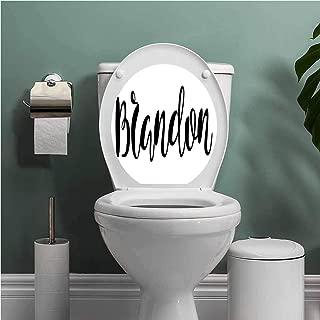 Thinkinghome Brandon Toilet Seat Tattoo Cover Widespread Name Design with Monochrome Artistic Letters Cursive Font Pattern Vinyl Bathroom Decor Black and White W13XL16 INCH
