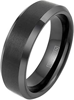 King's Cross Engraved Modern Minimalist Black Brushed Satin Finish 4mm/6mm/8mm Tungsten Carbide Band Ring w/ Beveled Edges & Comfort Fit Inner Band.